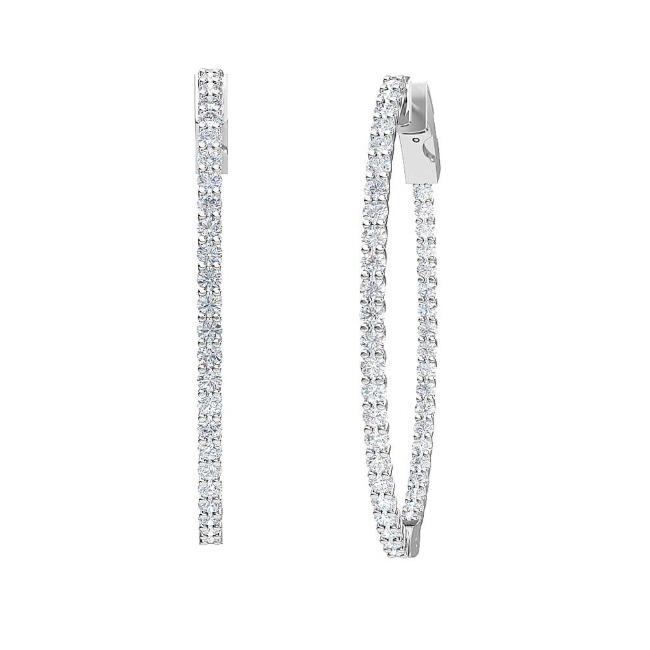 2.00 Carat Lab-Grown Inside-Out Diamond Hoop Earrings in 14K White Gold (42 MM)
