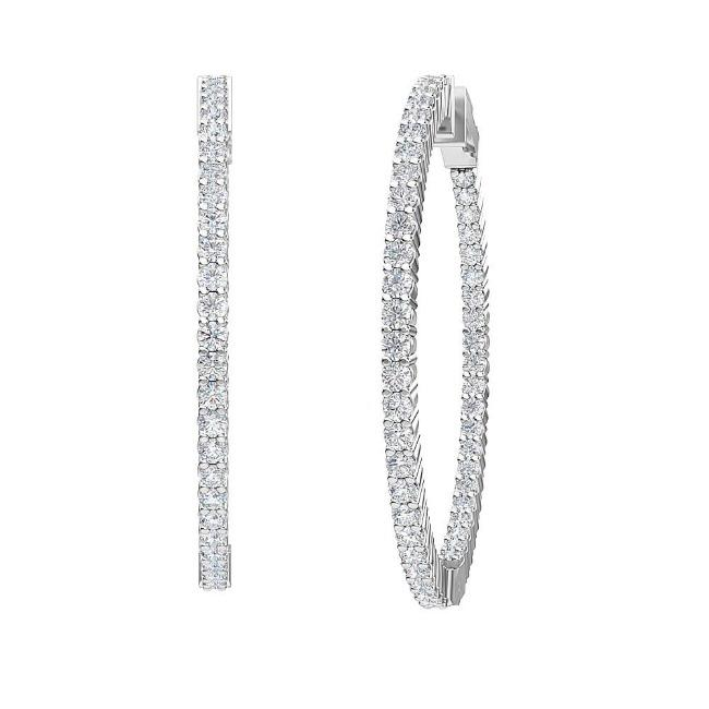3.00 Carat Lab-Grown Inside-Out Diamond Hoop Earrings in 14K White Gold (G-H/SI2)