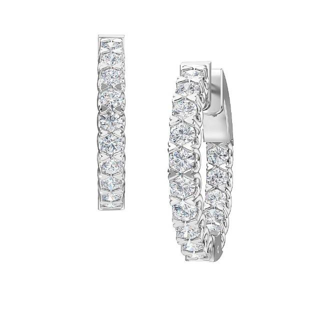 1.50 Carat Lab-Grown Inside-Out Diamond Hoop Earrings in 14K White Gold (G-H/SI2)