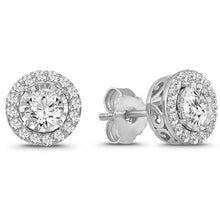 Load image into Gallery viewer, 1.00 Carat Diamond Halo Earrings in 10K White Gold