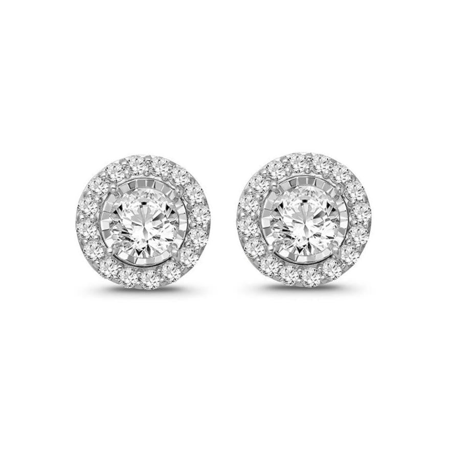 1/2 Carat Diamond Halo Earrings in 10K White Gold