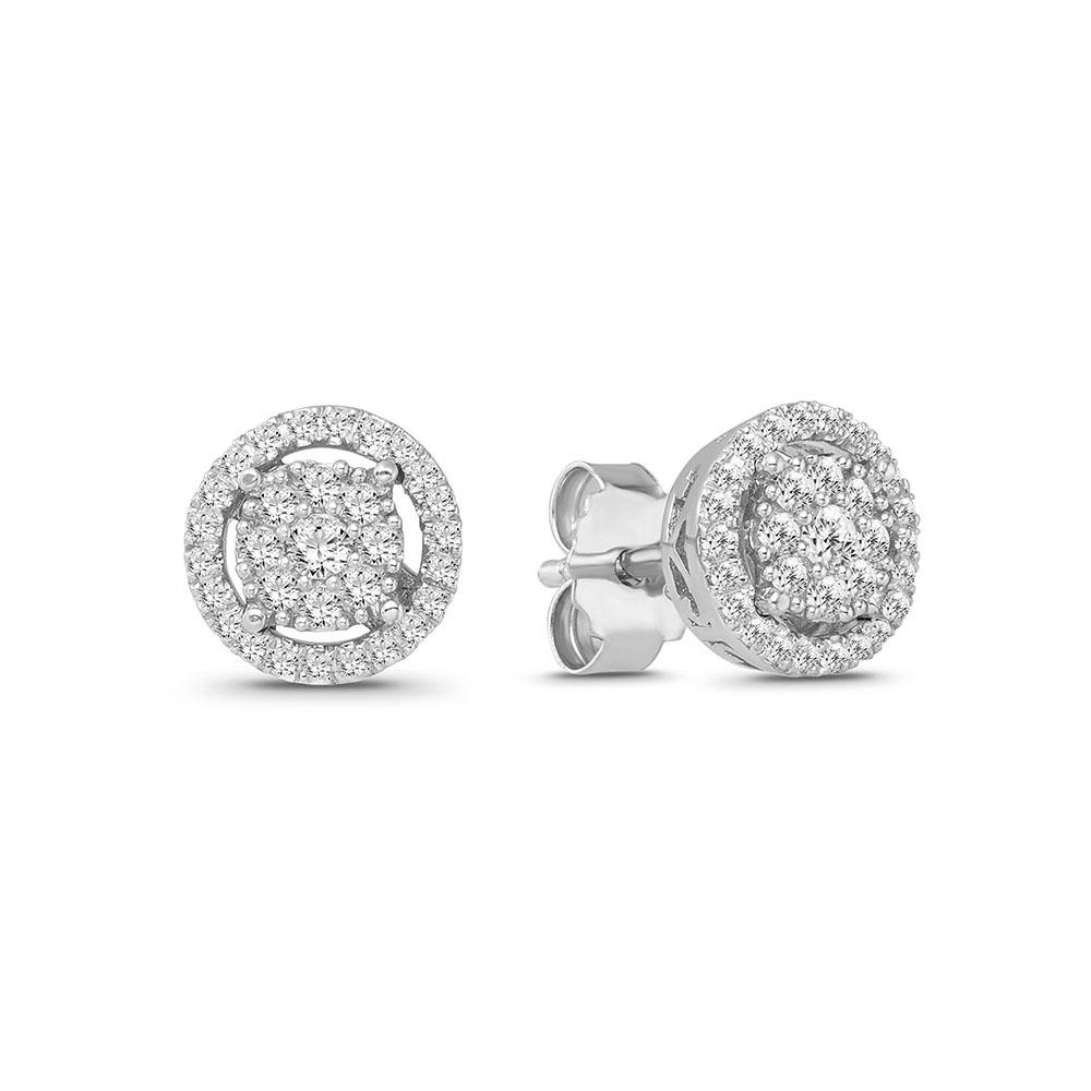 1/2 Carat Diamond Cluster Halo Stud Earrings in 10K White Gold