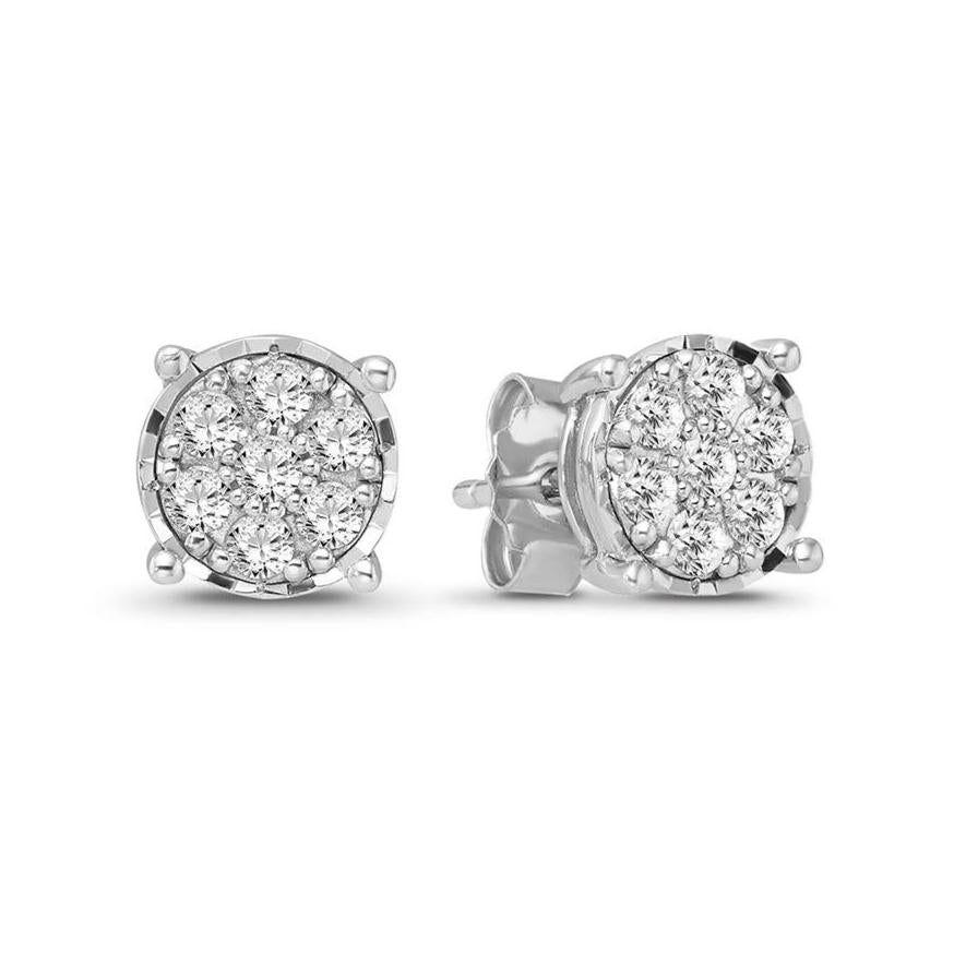 1/2 Carat Diamond Cluster Earrings in 10K White Gold