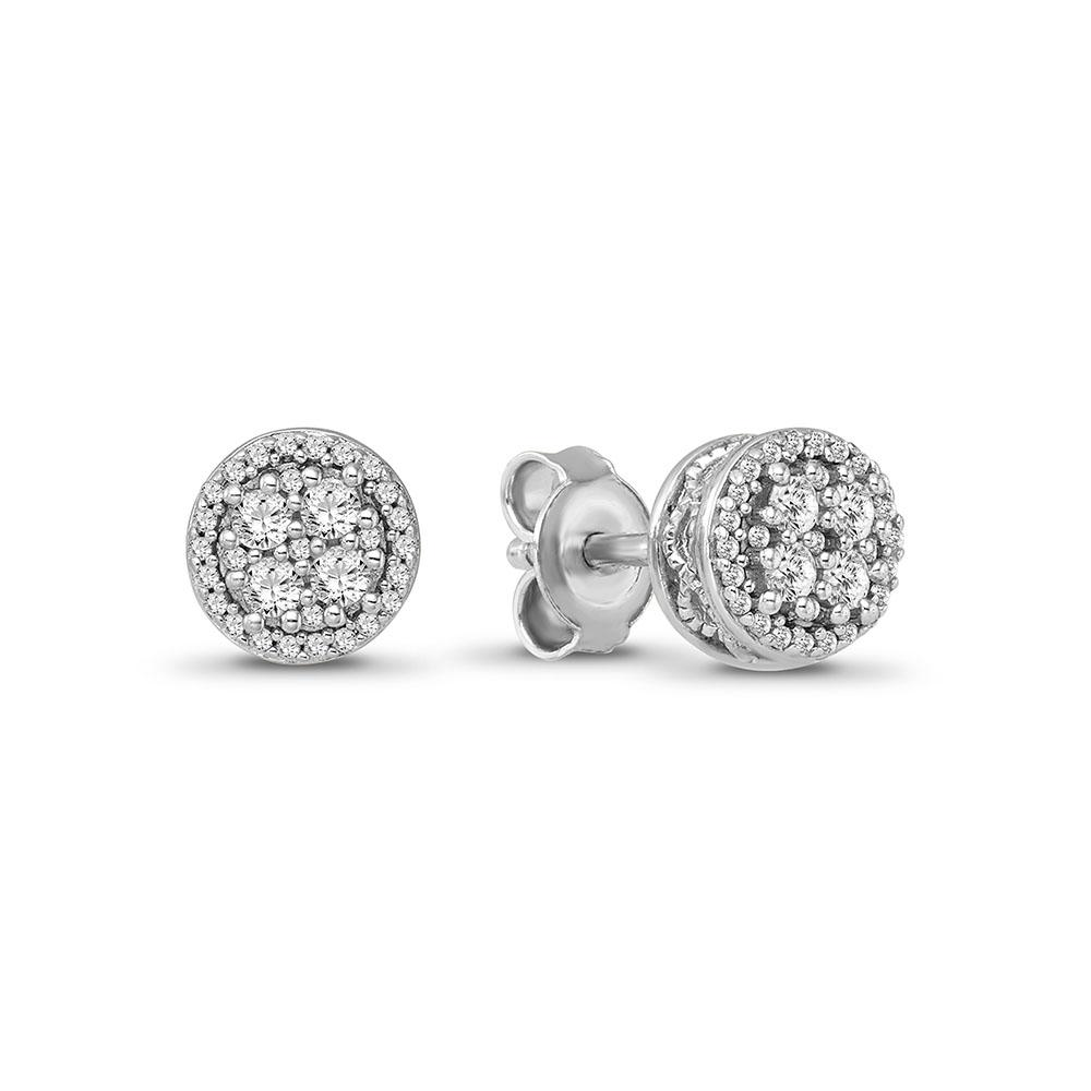 1/3 Carat Diamond Cluster Earrings in 10K White Gold