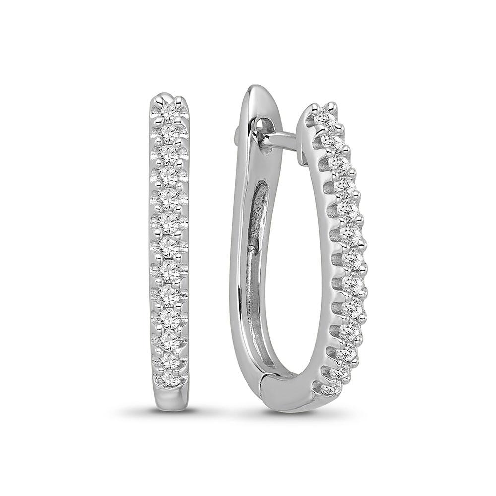 1/4 Carat Diamond Hoop Earrings in 10K White Gold