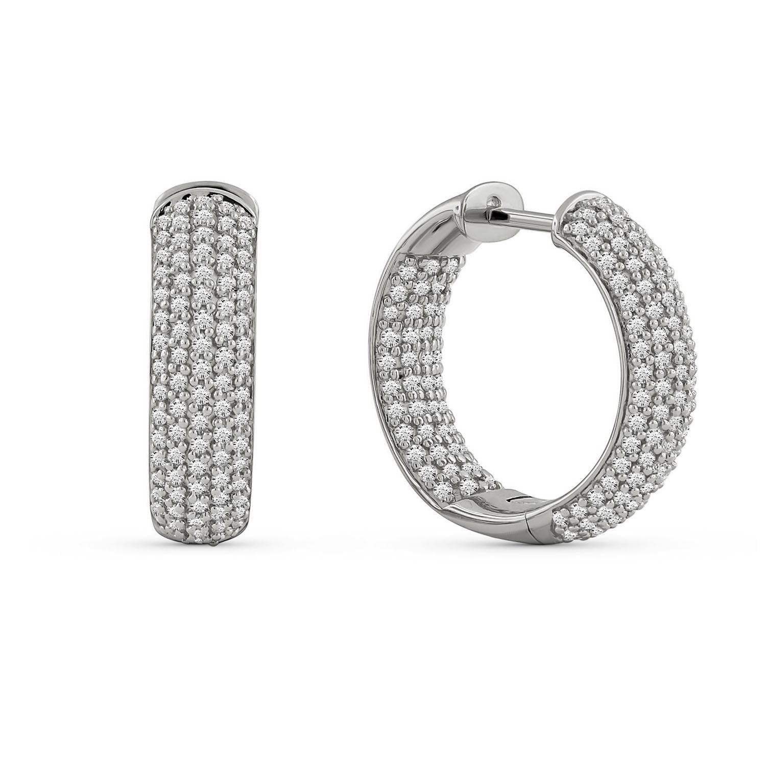 3.00 Carat Diamond Hoops Earrings in 10K White Gold