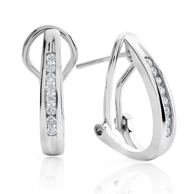 1/4  Carat Channel Set Diamond Hoop Earrings in 10K White Gold