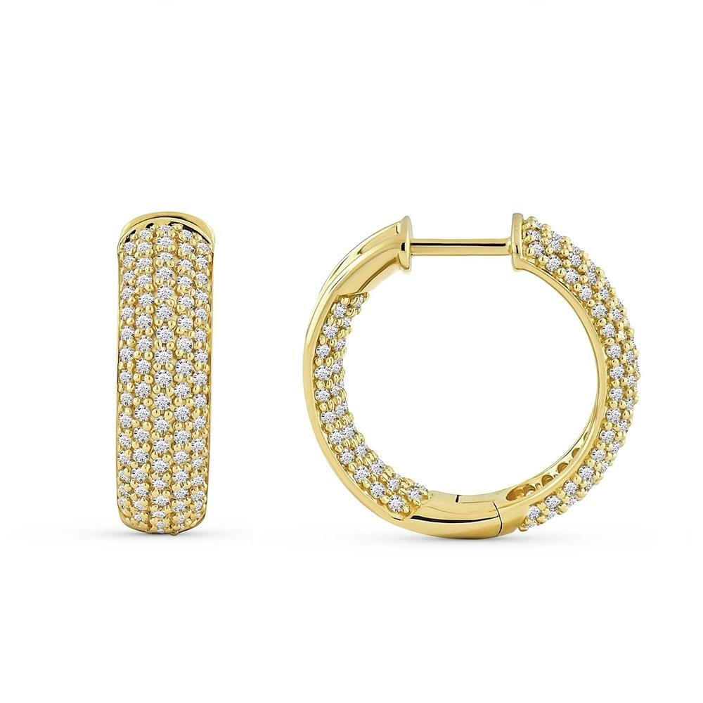 2.00 Carat Diamond Hoops Earrings in 10K Yellow Gold