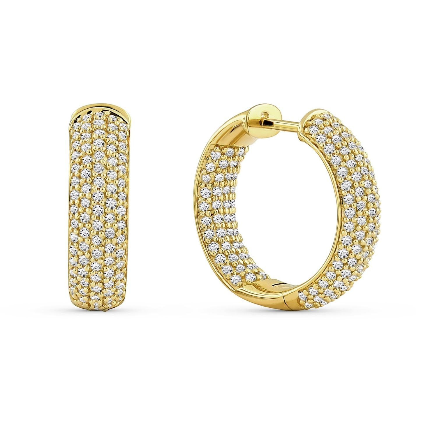 3.00 Carat Diamond Hoops Earrings in 10K Yellow Gold