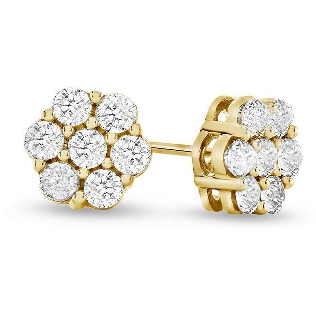 1/2 Carat Diamond Flower Cluster Stud Earrings in 10K Yellow Gold