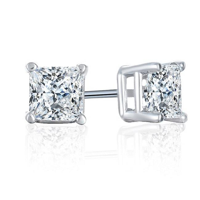 Near 1/2 Carat (0.40ctw) Princess-Cut Diamond Stud Earrings in 14K White Gold
