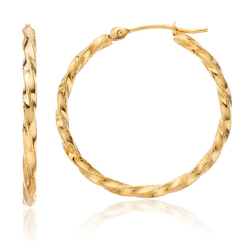 Twist Design Hoop Earrings in 14K Gold/Bronze