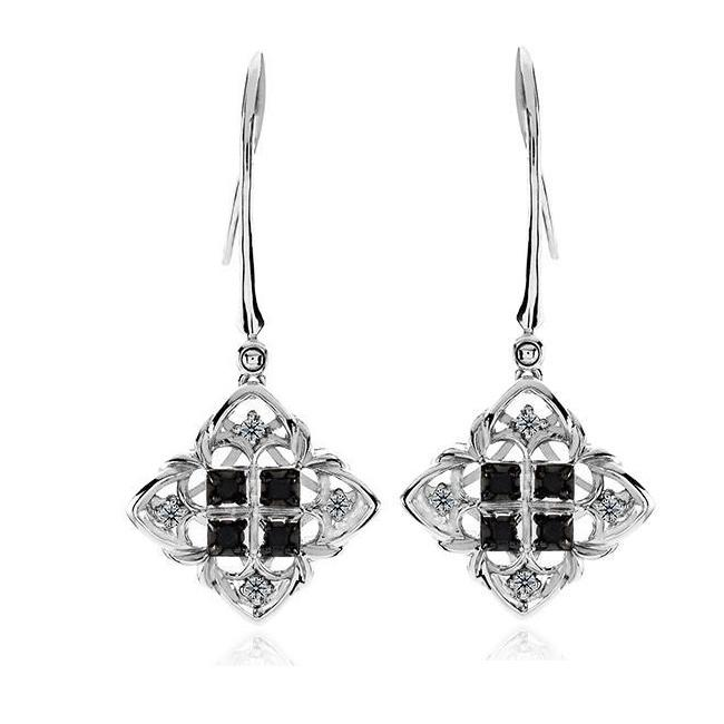 1/6 Carat Black & White Diamond Princess Dangle Earrings in Sterling Silver