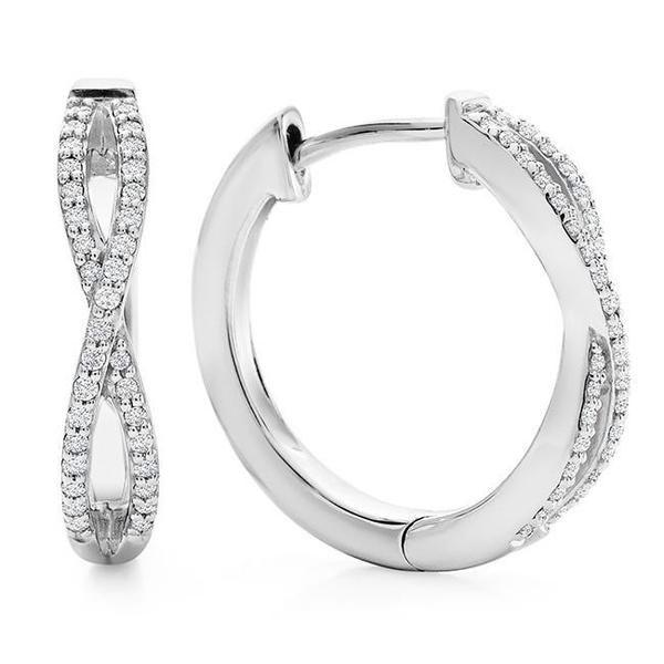 1/5 Carat Diamond Crisscross Hoop Earrings in Sterling Silver