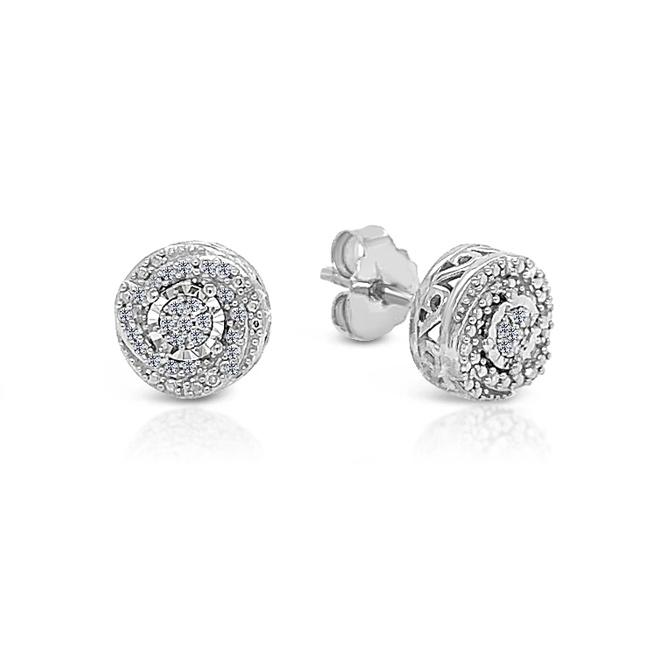 1/10 Carat Diamond Swirl Halo Stud Earrings in Sterling Silver