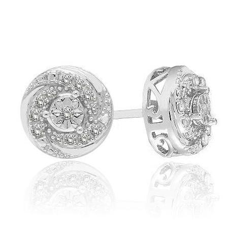 0.10ct Diamond Swirl Stud Earrings in Sterling Silver