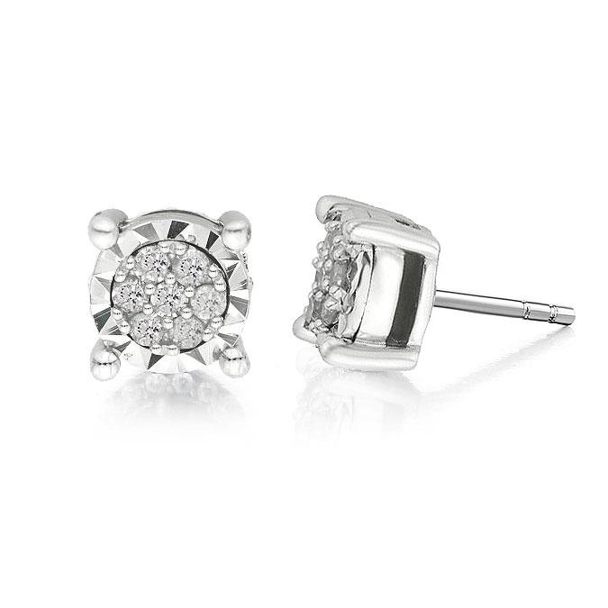 1/5 Carat Diamond Cluster Stud Earrings in Sterling Silver