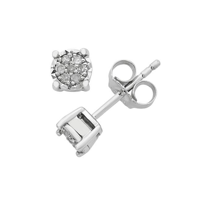 34e994090 1/10 Carat Diamond Cluster Stud Earrings in Sterling Silver – Netaya