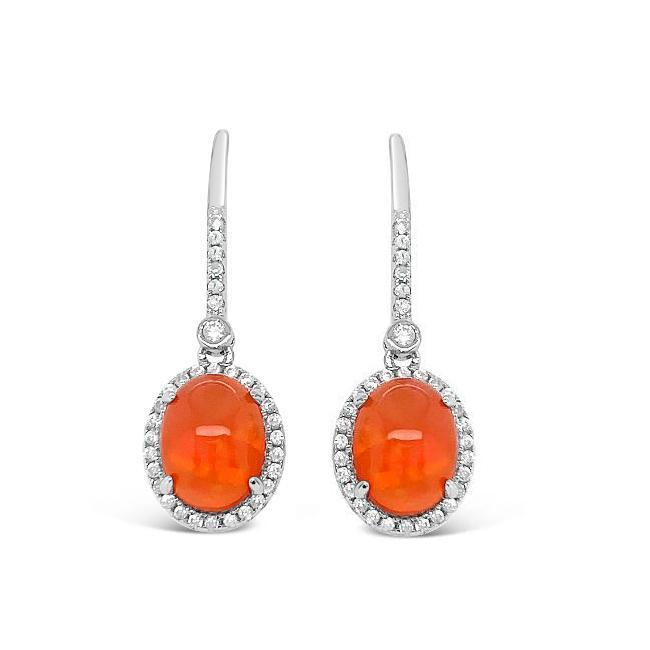 2.00 Carat Genuine Orange Opal & White Zircon Dangle Earrings in Sterling Silver