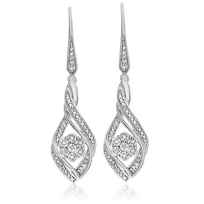 Designer Diamond Miracle Set Dangle Earrings in Sterling Silver