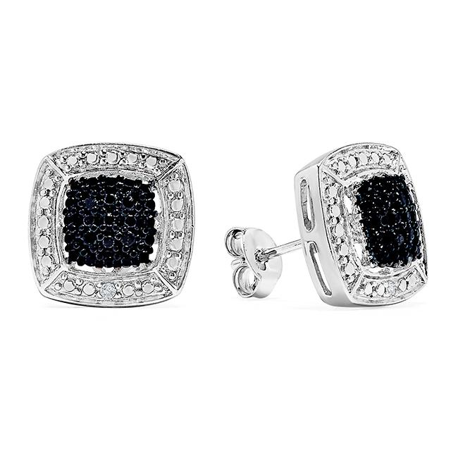 0c1847a18 0.10 Carat Black & White Diamond Stud Earrings in Sterling Silver