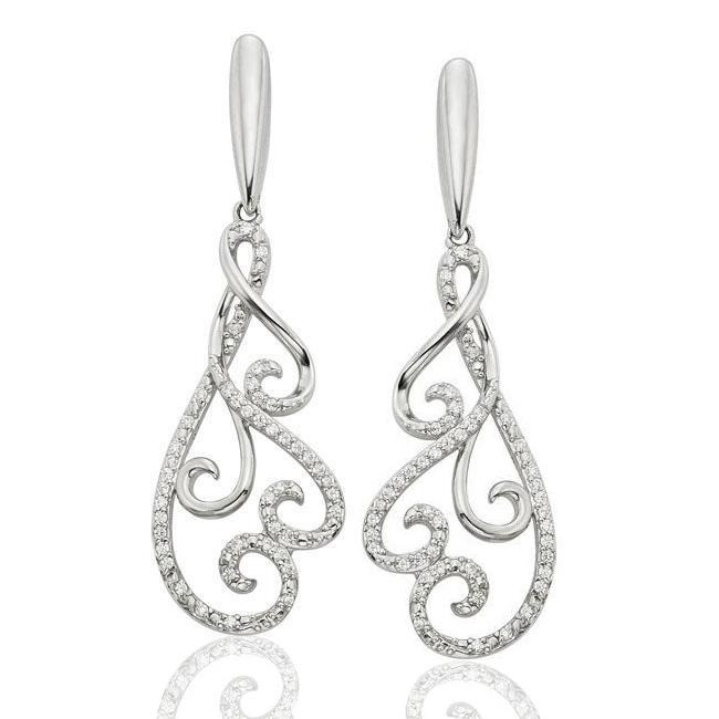 1/6 Carat Diamond Swirl Dangle Earrings in Sterling Silver