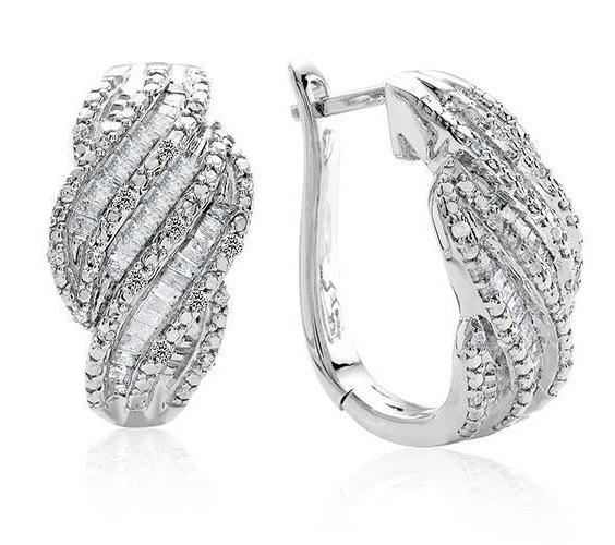 1.00 Carat Diamond Hoop Earrings in Sterling Silver