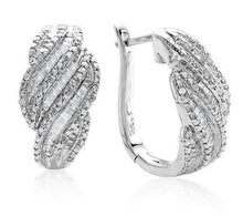 Load image into Gallery viewer, 1.00 Carat Diamond Hoop Earrings in Sterling Silver
