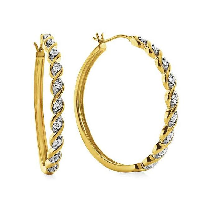 Diamond Hoop Earrings in 14K Gold/Sterling Silver