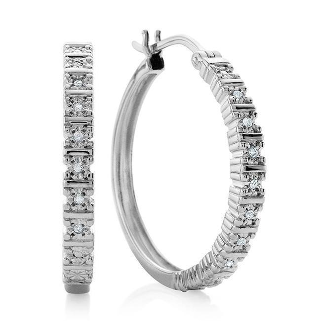 Diamond Miracle Set Hoop Earrings in Sterling Silver