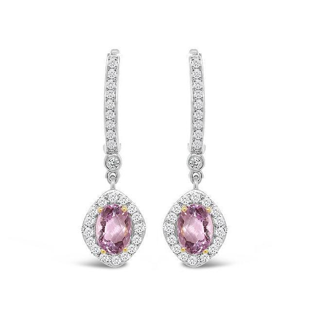 4.00 Carat Genuine Kunzite & White Zircon Earrings in Sterling Silver
