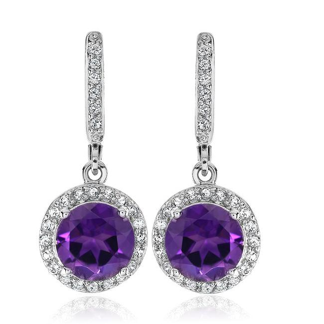 3.55 Carat Genuine Amethyst and White Topaz Earrings in Sterling Silver