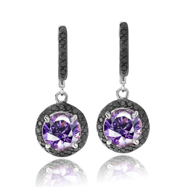 2.35 Carat Genuine Amethyst and Black Diamond Earrings in Sterling Silver