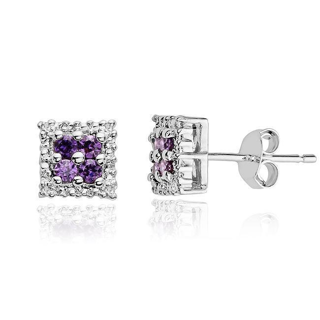 1/3 Carat Amethyst & Diamond Earrings in Sterling Silver