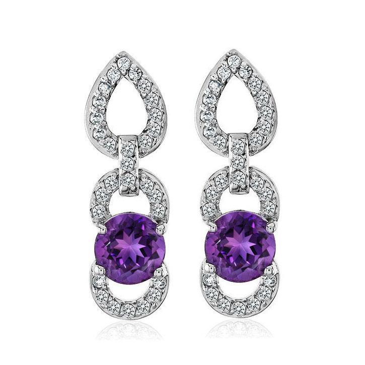 1.70 Carat Genuine Amethyst Earrings in Sterling Silver