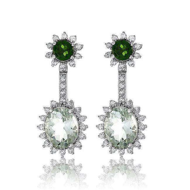 6.00 Carat Green Amethyst, Chrome Diopside and Topaz Earrings in Sterling Silver