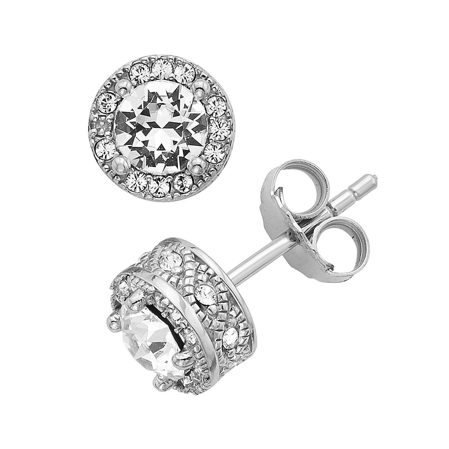 Diamond Accent & Crystal Halo Stud Earrings in Sterling Silver