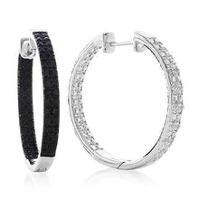 Load image into Gallery viewer, 1/2 Carat Black & White Diamond Reversible Hoop Earrings in Sterling Silver