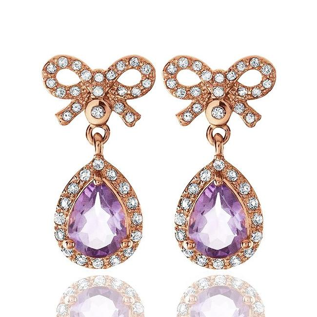 1.70 Carat Genuine Amethyst Bow Earrings in Rose Gold/Sterling Silver
