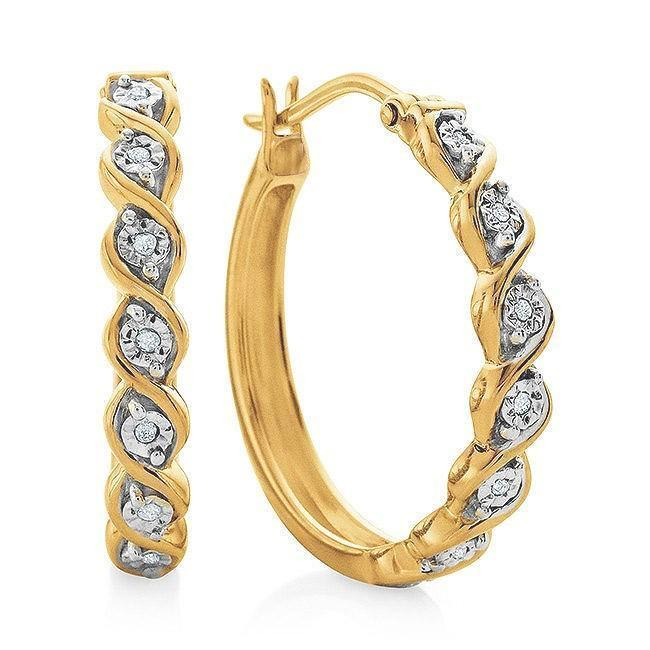 Diamond Accent Miracle Set Hoop Earrings in 14K Yellow Gold/Sterling Silver
