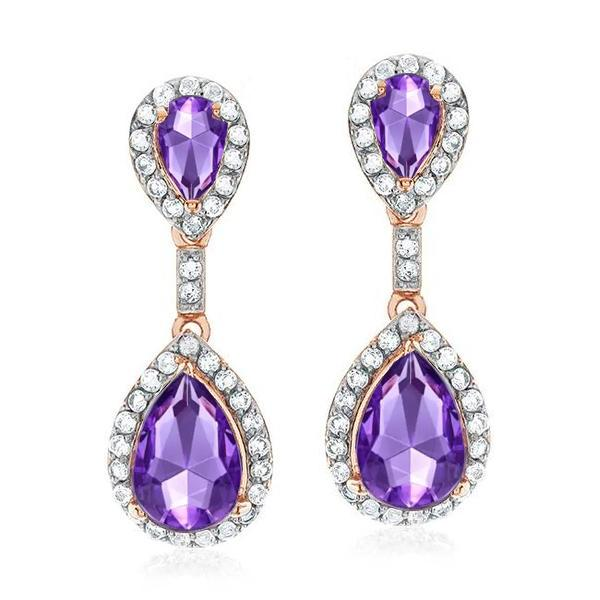 4.75 Carat Genuine Amethyst & White Topaz Earrings in Rose Gold/Sterling Silver