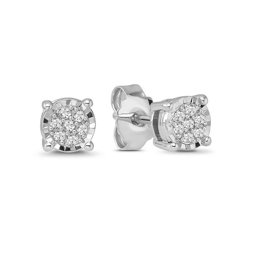 1/6 Carat Diamond Cluster Earrings in Sterling Silver