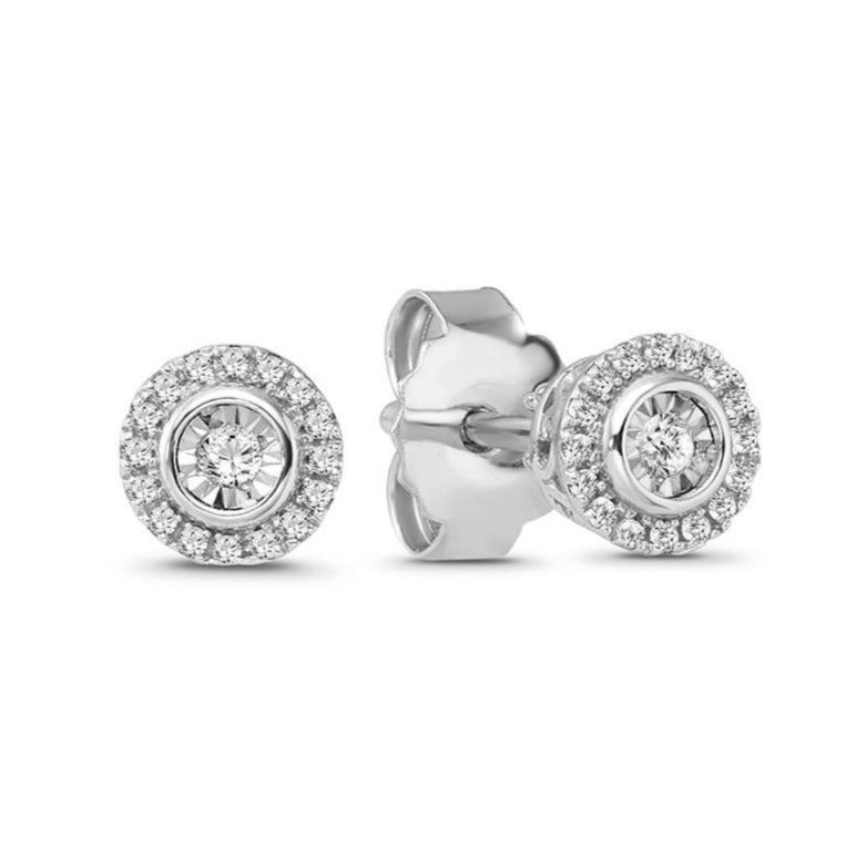1/10 Carat Diamond Halo Earrings in Sterling Silver