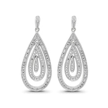 Load image into Gallery viewer, 1/8 Carat Diamond Dangle Earrings in Sterling Silver