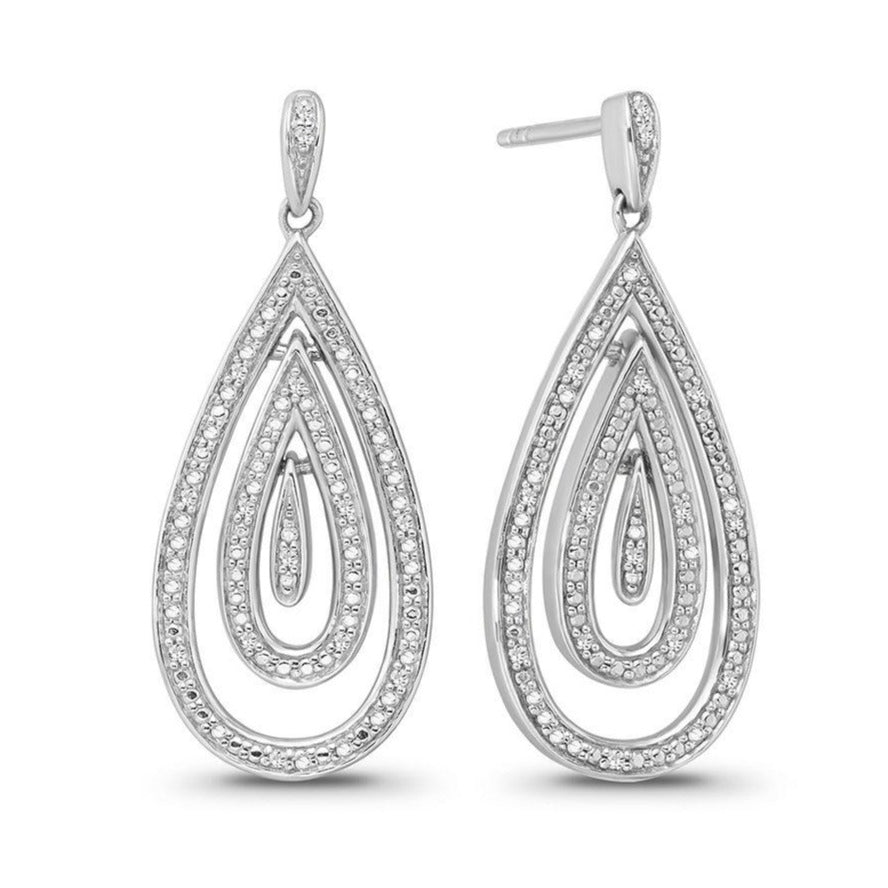 Diamond Teardrop Dangle Earrings in Sterling Silver