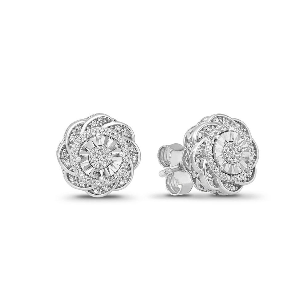 1/10 Carat Diamond Flower Cluster Stud Earrings in Sterling Silver