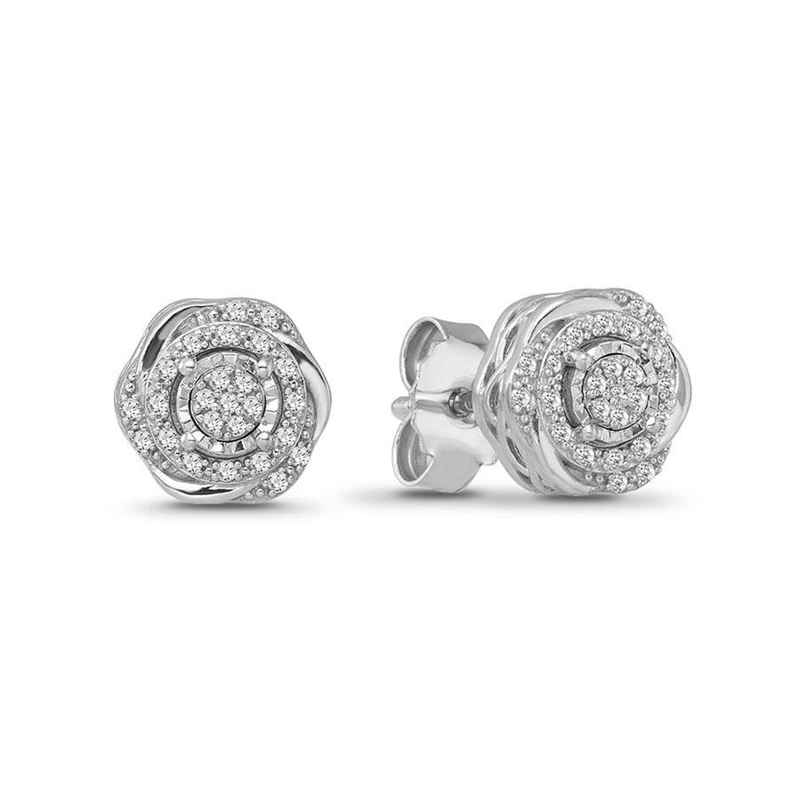 1/10 Carat Diamond Swirl Stud Earrings in Sterling Silver