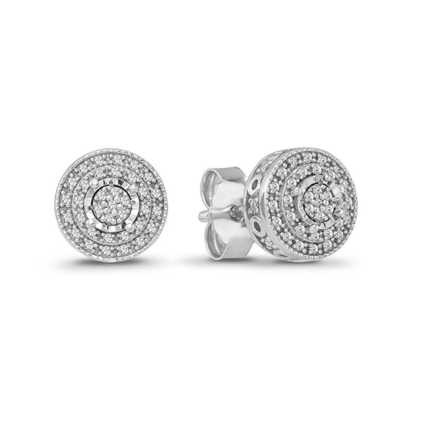 1/6 Carat Diamond Halo Earrings in Sterling Silver