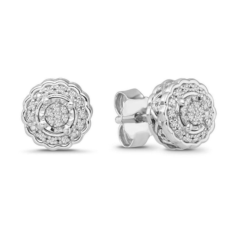 1/6 Carat Diamond Halo Stud Earrings in Sterling Silver