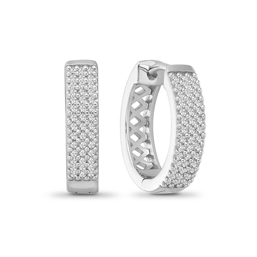 1/4 Carat Diamond Huggie Hoop Earrings in Sterling Silver